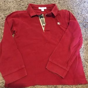 Burberry long sleeve polo shirt 7y